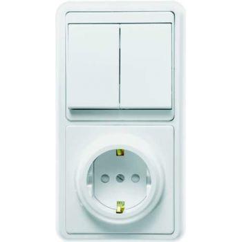 Блок БКВР-035 Бэлла (2-кл. выкл. + евророзетка с защ. шторками) бел. Кунцево 5835