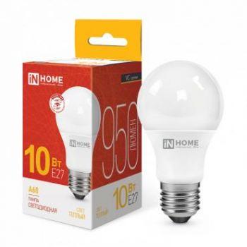 Лампа светодиодная LED-A60-VC 10Вт 230В E27 3000К 900Лм IN HOME 4690612020204