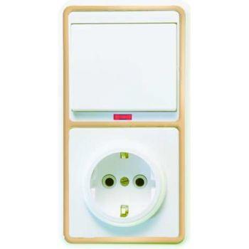 Блок БКВР-056 Бэлла (1-кл. выкл. с подсветкой + розетка с заземл.) зол. Кунцево 5822